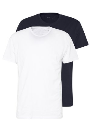 2 PACK - T-shirt basique - white/dark blue