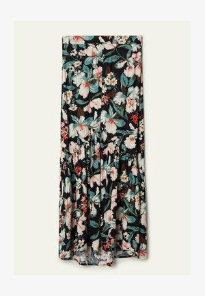 MIT RÜSCHE UND SCHLITZ - Maxi skirt - nero st.lake flowers