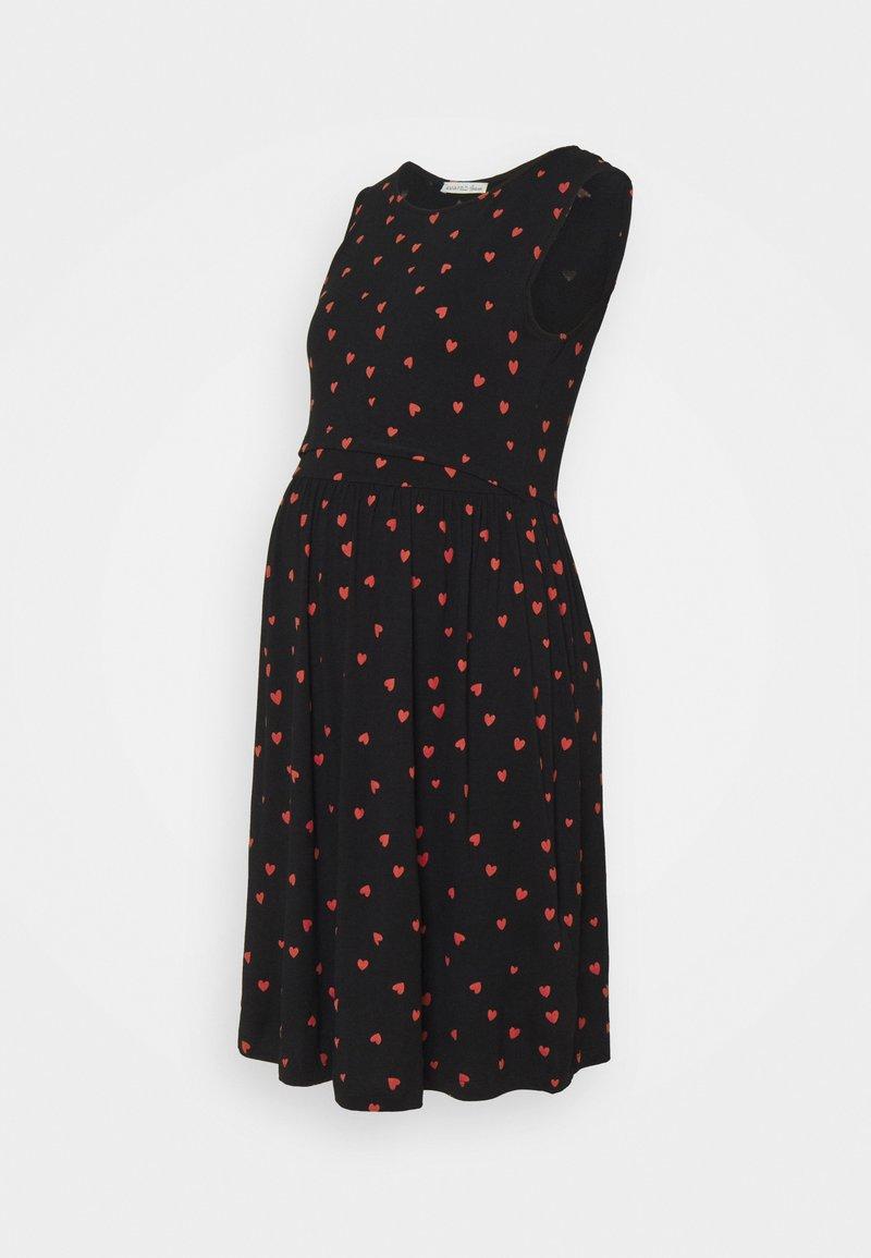 Anna Field MAMA - NURSING dress - Žerzejové šaty - black/red