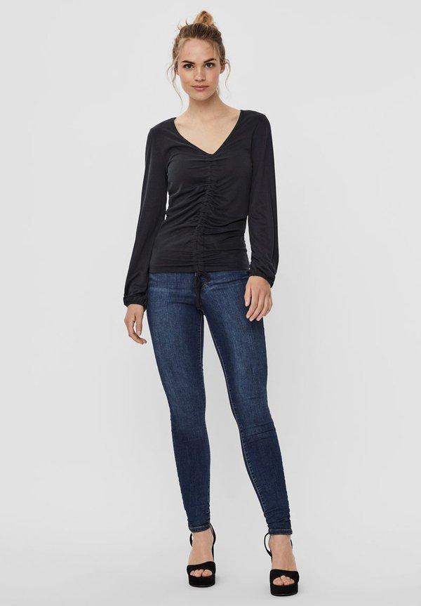 Vero Moda MIT BINDEBAND - Bluzka - black/czarny CBIQ