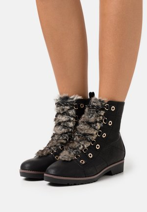 WIDE FIT BOOT - Lace-up ankle boots - black