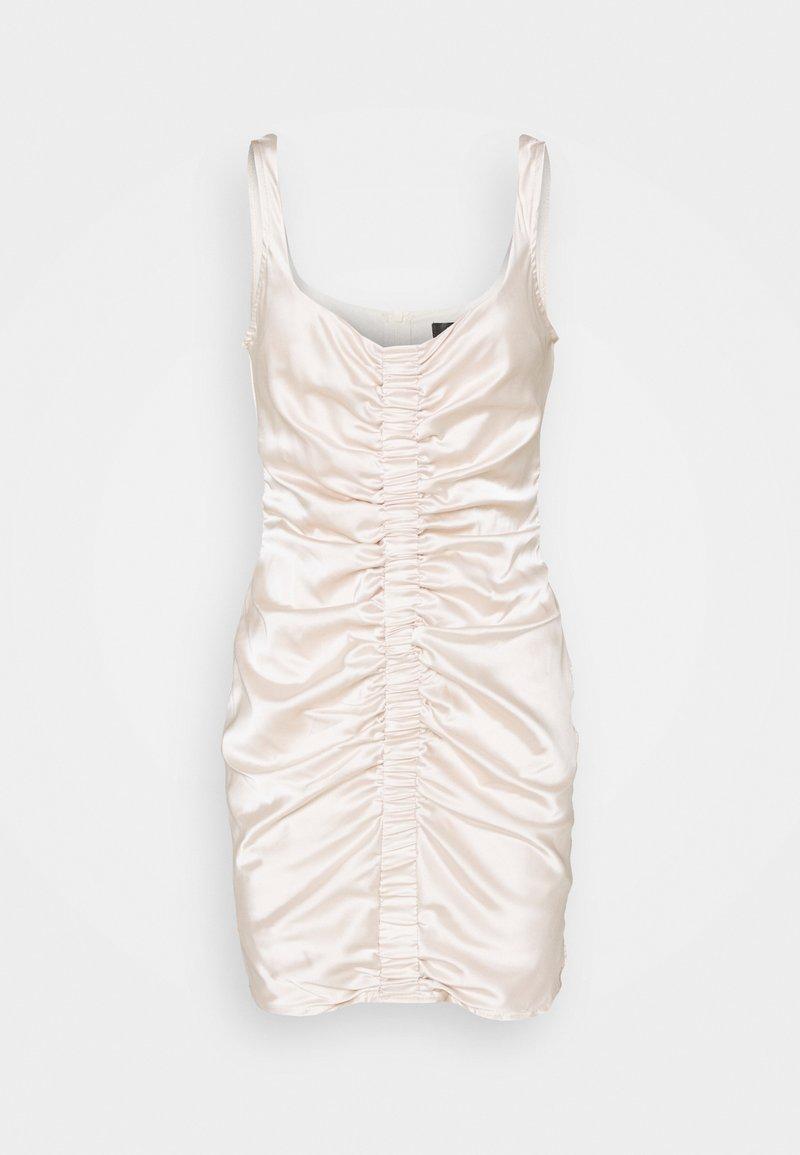 Missguided - RUCHED FRONT STRAPPY - Koktejlové šaty/ šaty na párty - cream