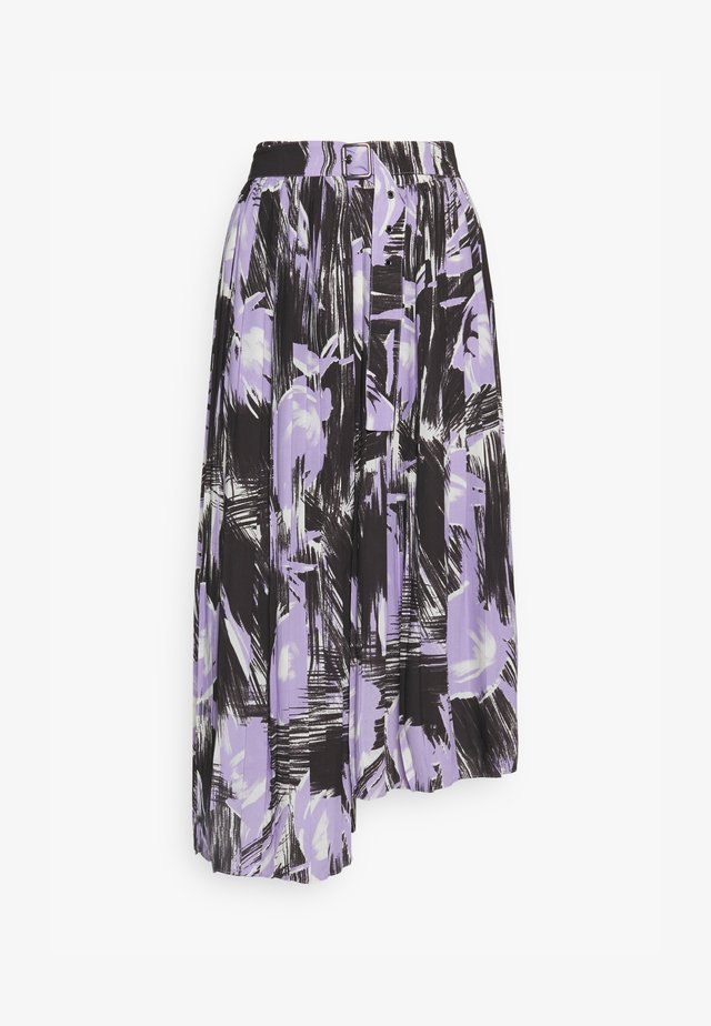 PLEATED ASYMM MIDI SKIRT - Gonna a campana - lavender