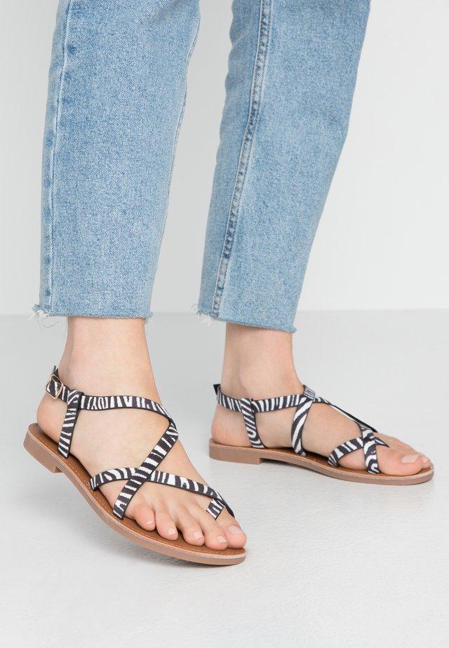 ONLMANDALA CROSSOVER  - T-bar sandals - black/white