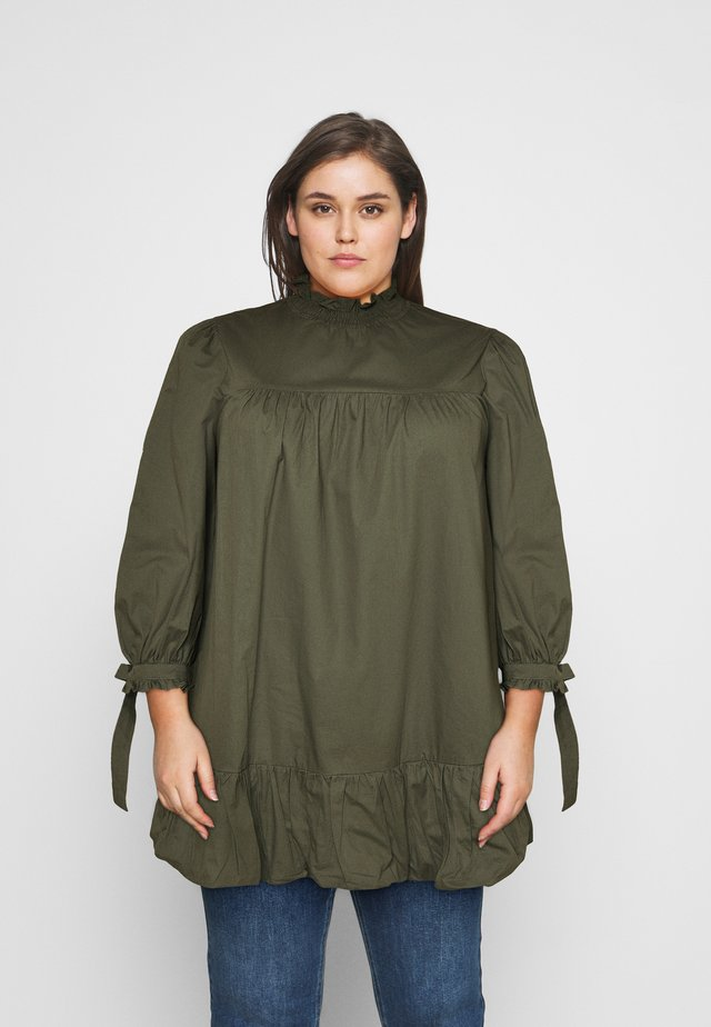 TIE SLEEVE SMOCK DRESS - Robe d'été - khaki