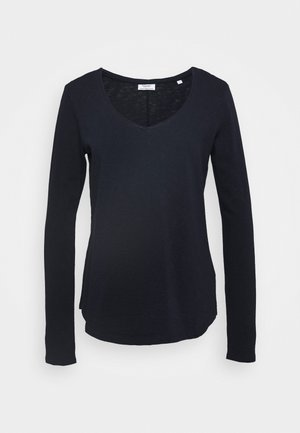 LONGSLEEVE V NECKDETAIL ON NECKLINE BASIC FIT - Topper langermet - scandinavian blue