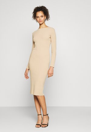 TALLTEXTURED CUT OUT LONG SLEEVE DRESS - Robe pull - tan