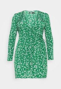 Missguided Plus - PRINTED WRAP MINI DRESS - Day dress - green - 1