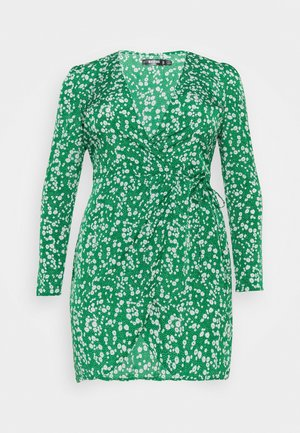 PRINTED WRAP MINI DRESS - Day dress - green