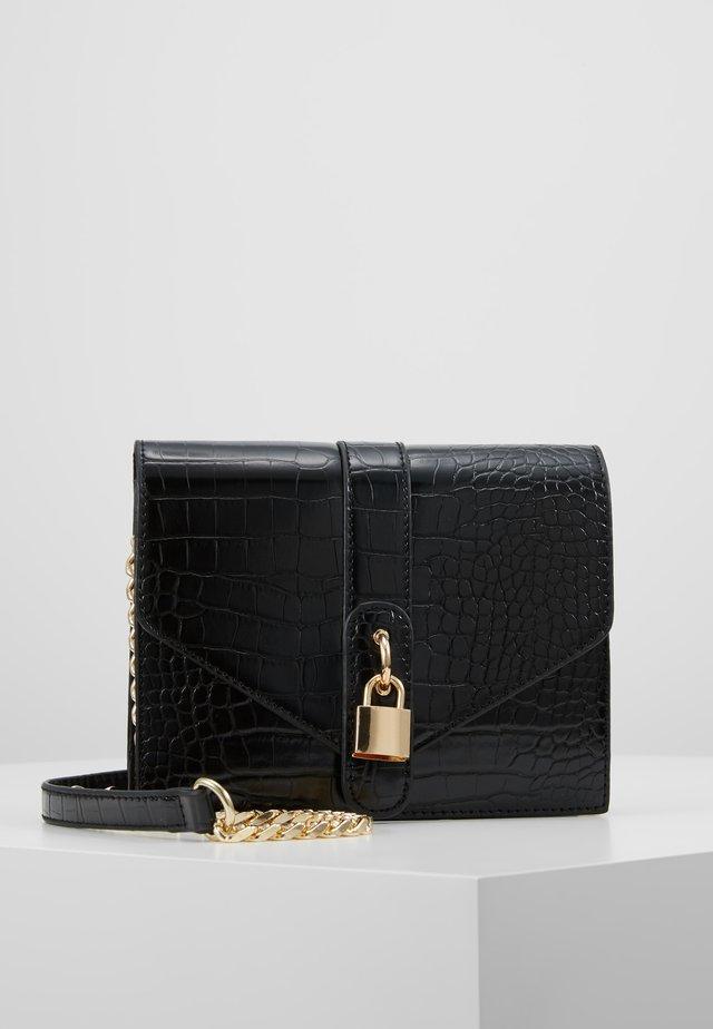 PADLOCK DETAIL CROC CROSS BODY BAG - Across body bag - black