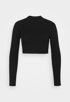 HIGH NECK CROP - Jumper - black