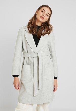 WRAP COAT WITH BELT - Abrigo corto - grey melange