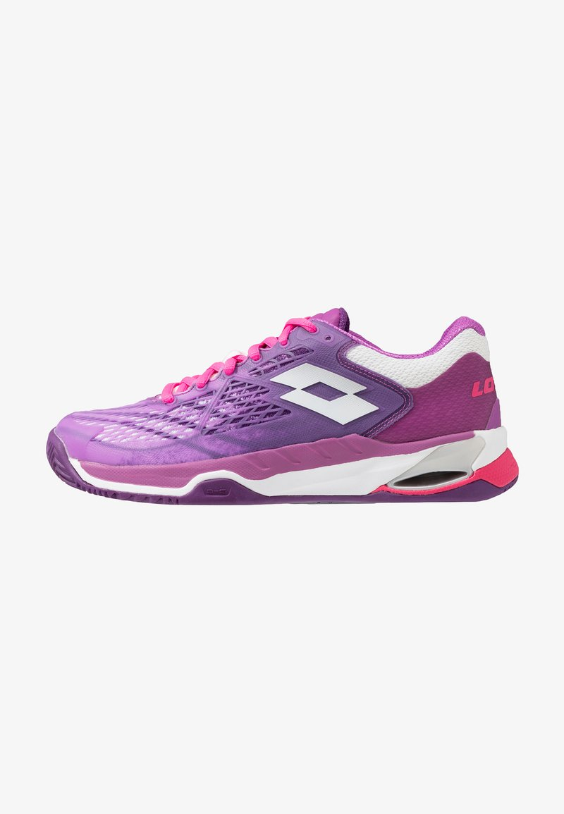 Lotto - MIRAGE 100 CLY - Clay court tennis shoes - purple willow/all white/funky pink