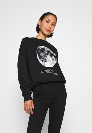 Printed Oversized Sweatshirt - Collegepaita - black
