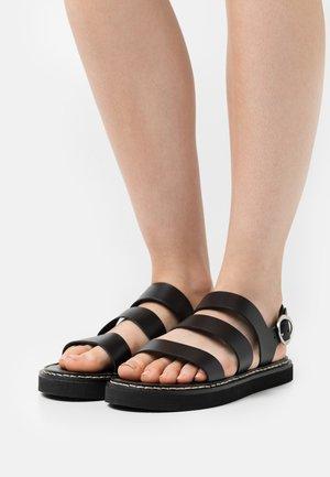 SCANDI MULTI STRAP FOOTBED - Sandals - black