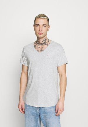 SLIM JASPE V NECK - T-shirts - grey