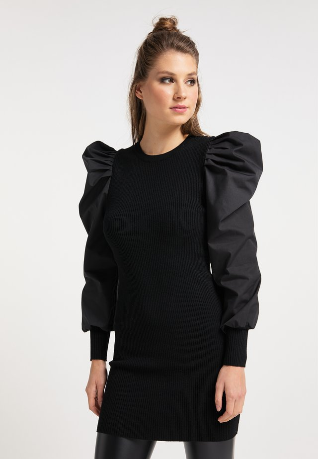 Vestido de punto - schwarz schwarz