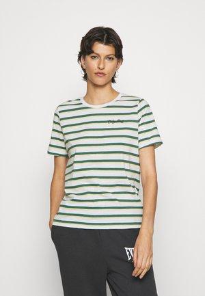 ONLINC LIFE O-NECK STRIPE TEE - T-shirt print - white/mallard green/dusky citron