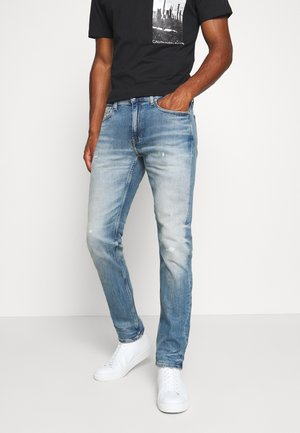 SLIM TAPER - Jeans Slim Fit - bright blue destroyed