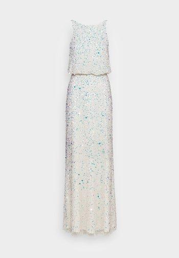 ALL OVER EMBELLISHED HIGH NECK MAXI DRESS - Společenské šaty - ecru