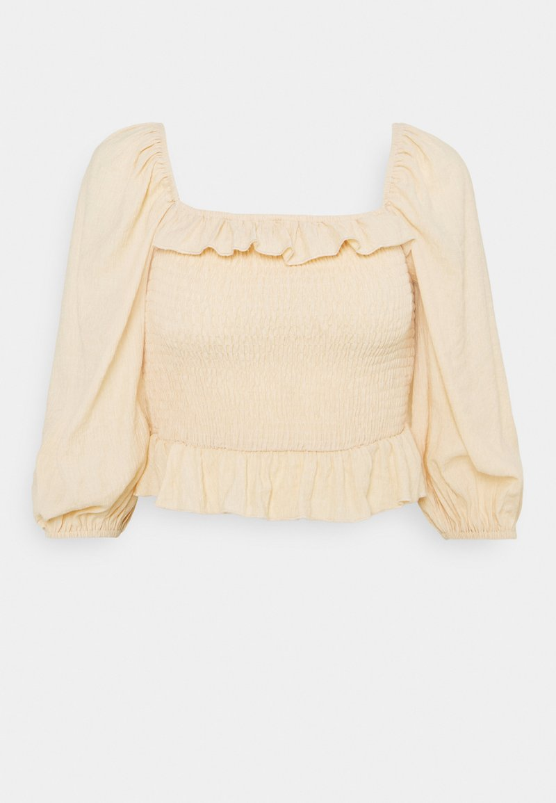 Missguided Petite - FRILL DETAIL SHIRRED  - Long sleeved top - cream