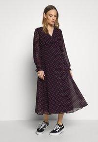 Dorothy Perkins Maternity - SPOT WRAP DRESS - Day dress - black - 1