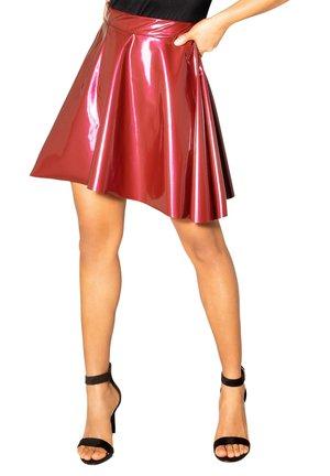 WET LOOK  - A-line skirt - wine