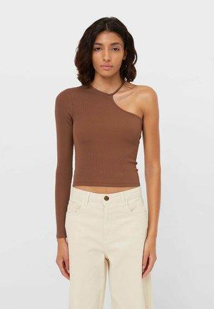 Bluzka z długim rękawem - mottled brown