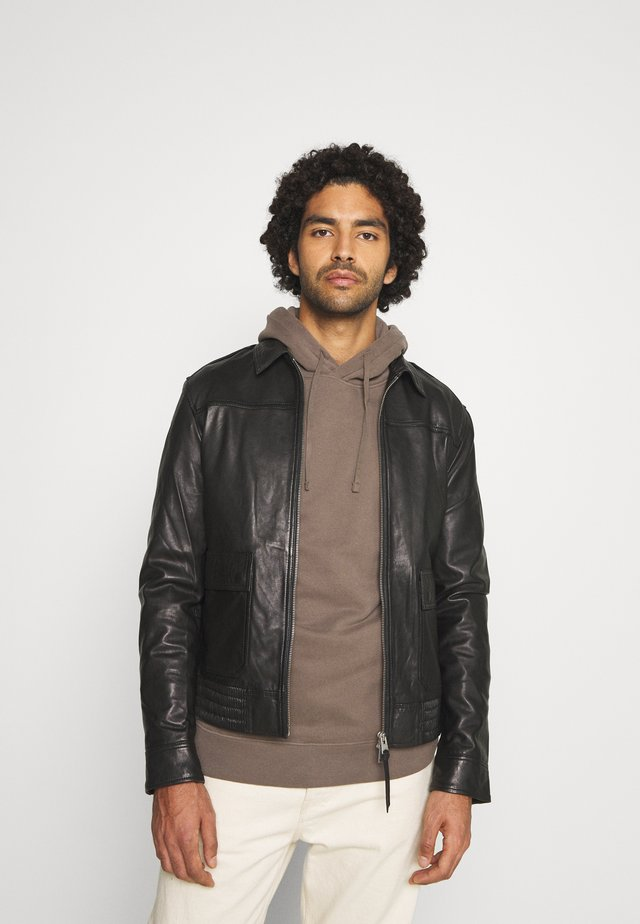 MACK AVIATOR - Leather jacket - black
