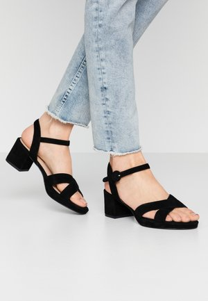 LEATHER - Platform sandals - black