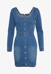 LONG SLEEVE SQUARE NECK STRETCH DRESS MID WASH - Denim dress - blue