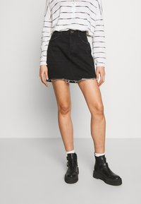 ONLY - ONLSKY SKIRT RAW EDGE - Farkkuhame - black - 0
