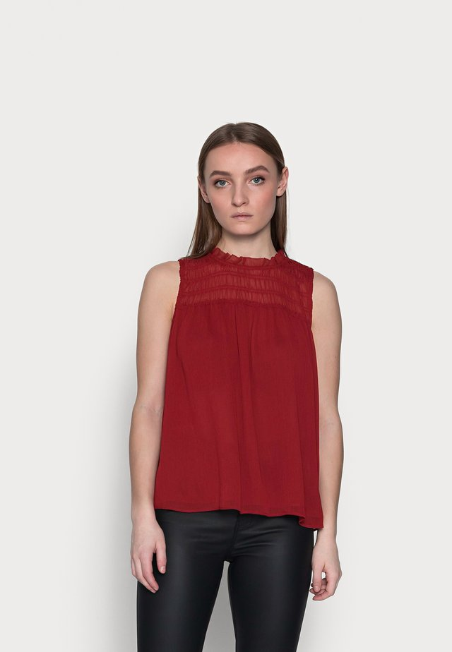 SMOCKED RUFFLE SOLID - Top - mulled cranberry