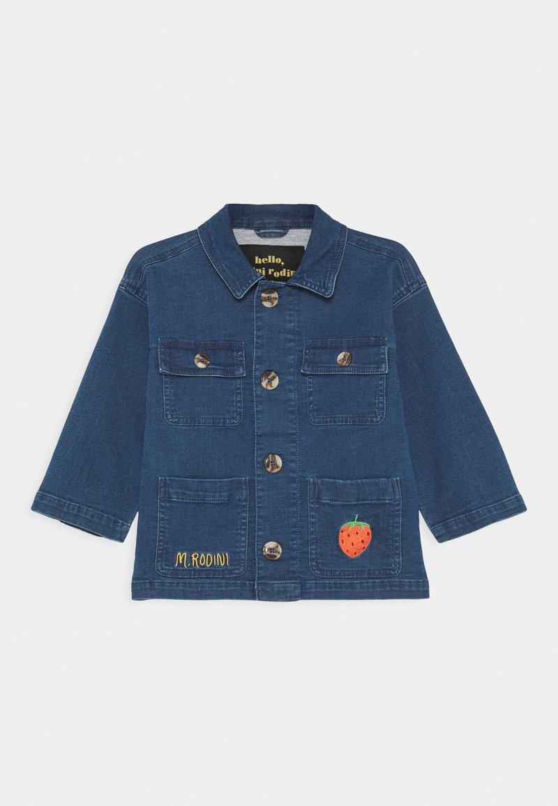 Mini Rodini - DENIM STRAWBERRY SAFARI JACKET UNISEX - Denim jacket - blue
