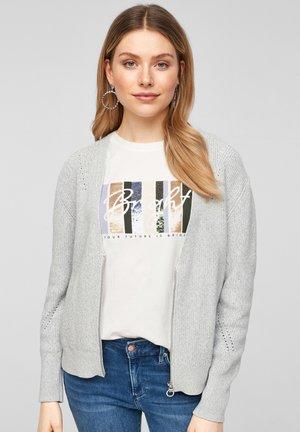 MIT REISSVERSCHLUSS - Cardigan - grey melange knit