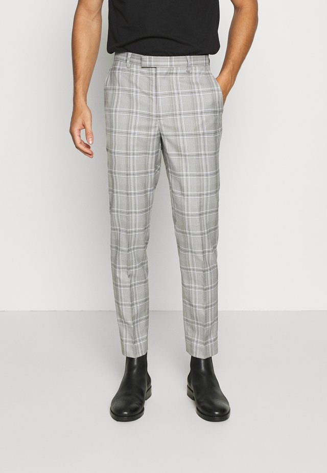 LARGE GRID CHECK TROUSER SKINNY - Suit trousers - mid grey