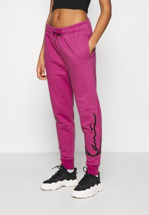 SIGNATURE  - Tracksuit bottoms - darkpink