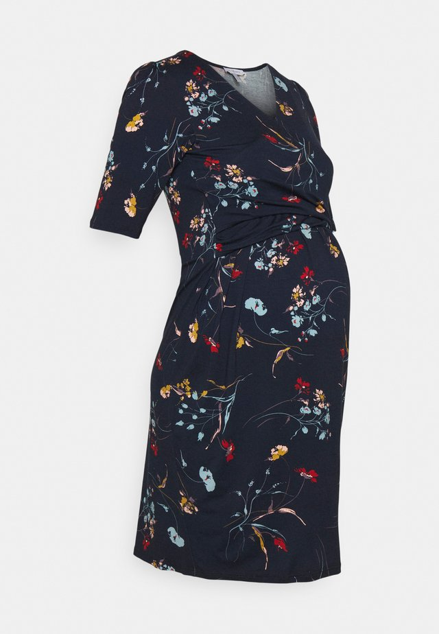 DIVINE - Robe en jersey - navy blue/multicolour