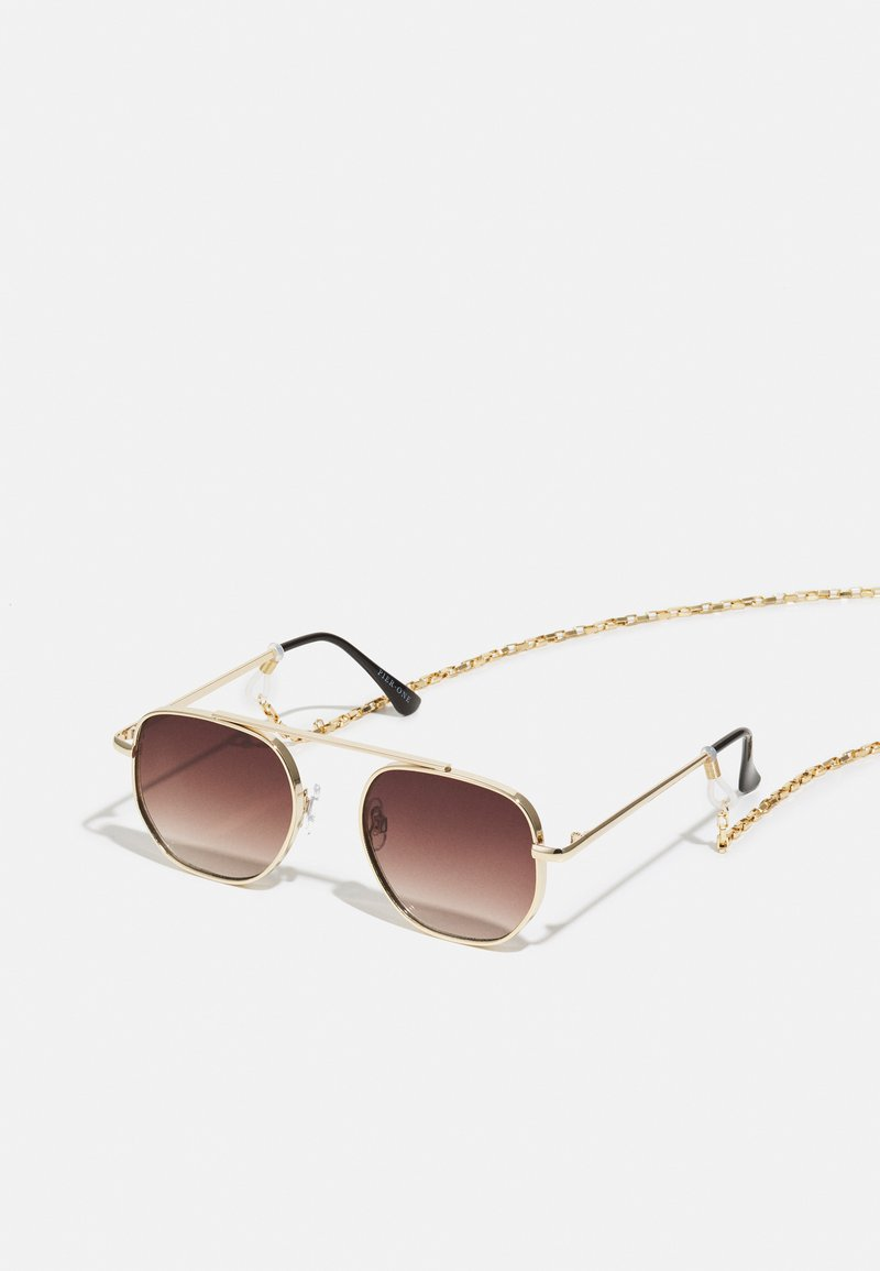 Pier One - WITH CHAIN SET UNISEX - Sunglasses - brown