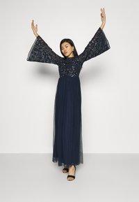 Maya Deluxe - FLORAL EMBELLISHED BELL SLEEVE MAXI DRESS - Společenské šaty - navy - 3