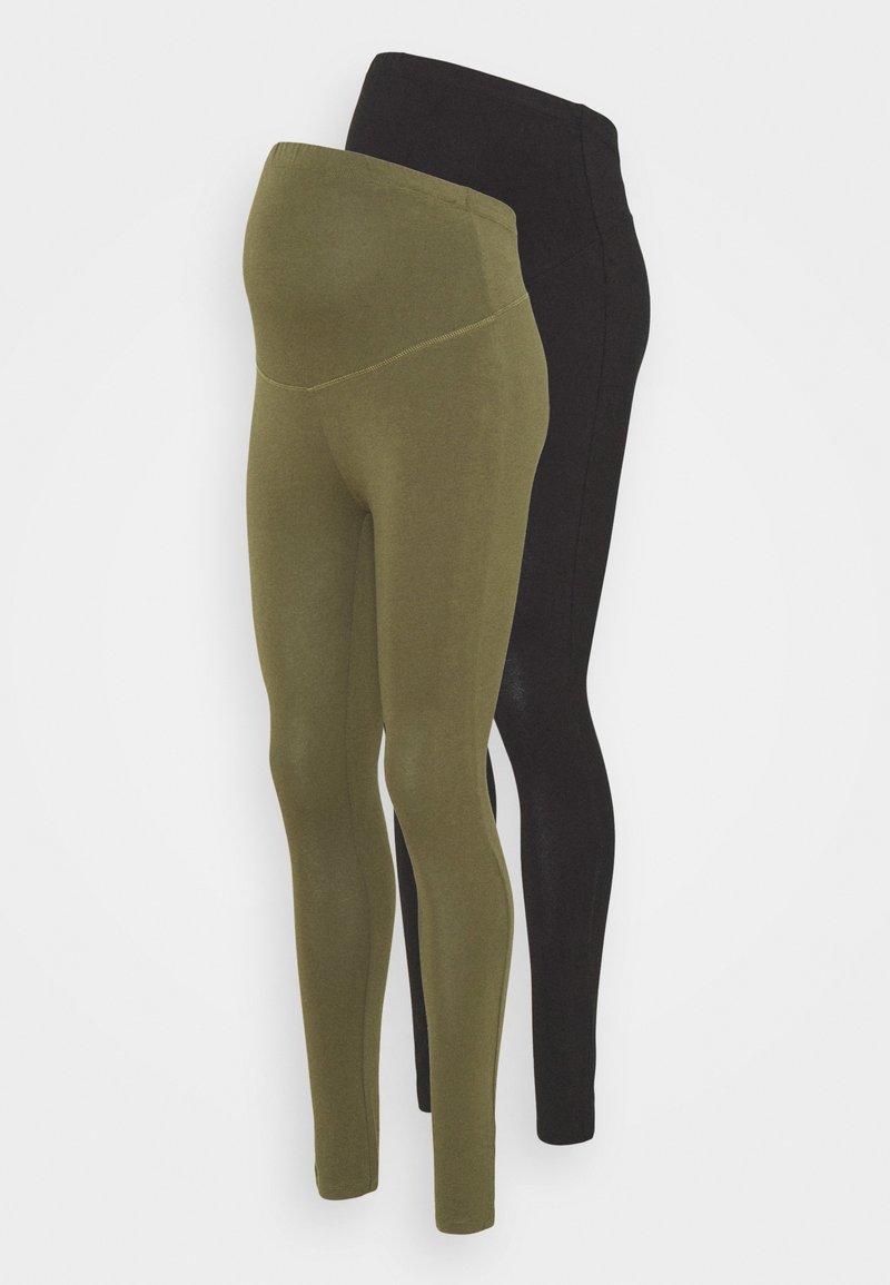 Anna Field MAMA - 2 PACK - Leggings - black/olive