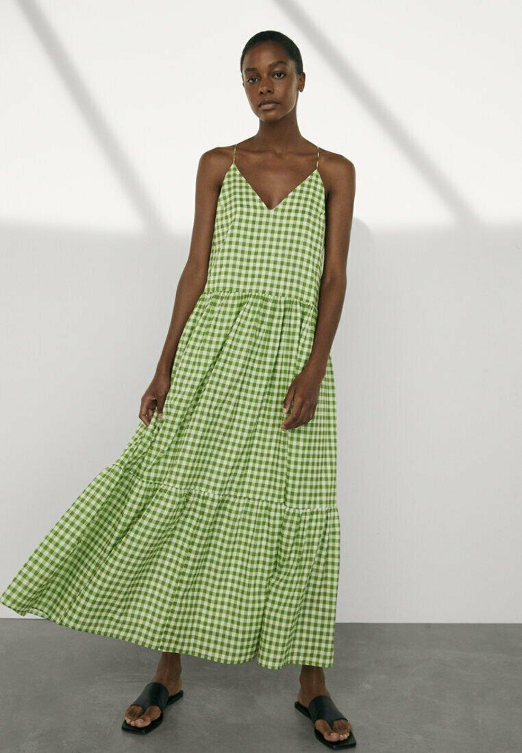 Massimo Dutti - MIT VICHYKAROS - Maxi dress - green
