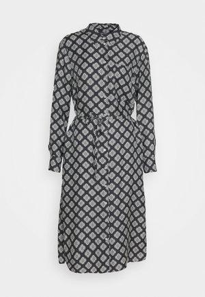 DRESS STYLE BREAST POCKET SMALL BELT PRINTED - Skjortekjole - black