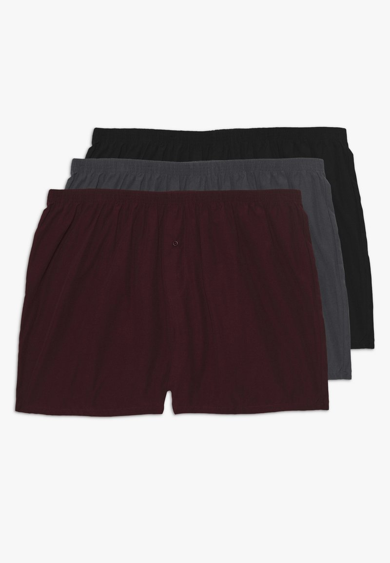 Pier One - 3 PACK - Boxershort - black/grey/red