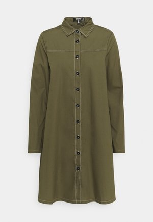 CONTRAST STITCH DRESS - Shirt dress - khaki