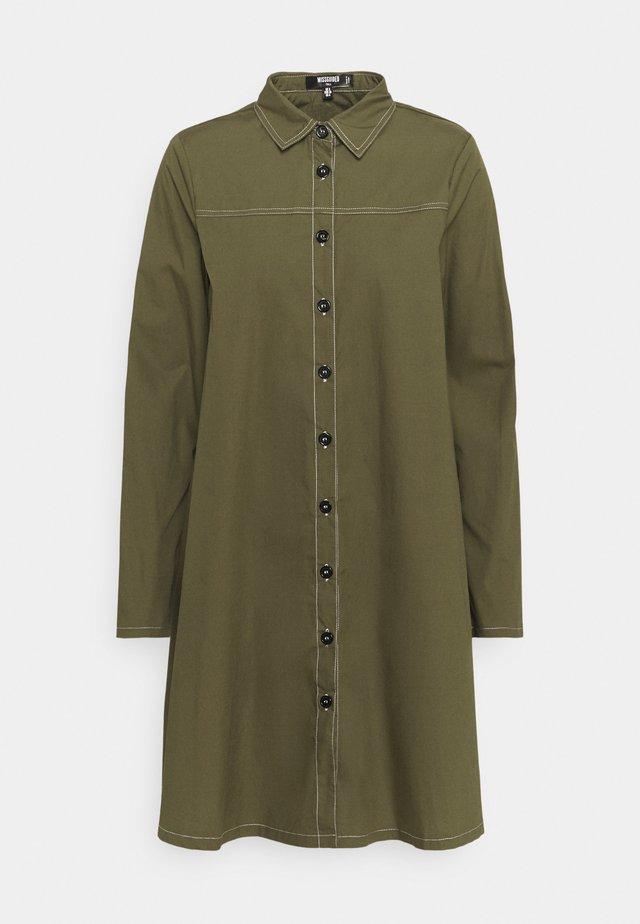 CONTRAST STITCH DRESS - Shirt dress - khaki