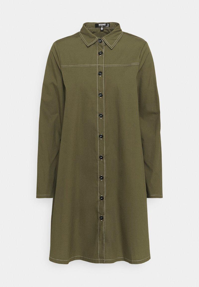 Missguided Tall - CONTRAST STITCH DRESS - Shirt dress - khaki