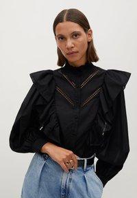 Mango - ROMA - Button-down blouse - zwart - 0