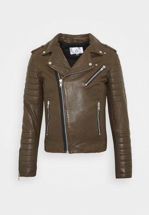 HIPSTER  - Leather jacket - khaki