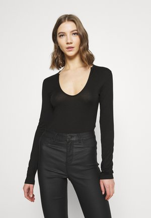 FRONT DETAIL - Long sleeved top - black
